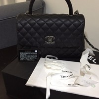 100% AUTH CHANEL COCO HANDLE 2017 MEDIUM CAVIAR FLAP PYTHON HANDLE BLACK BAG