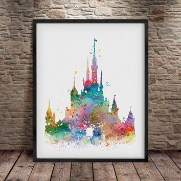 Disney Castle, Watercolor Print Disney Nursery, Disney Painting, Disney Art, Princess Castle Watercolor Print, Wall Hangings, disney art- a6