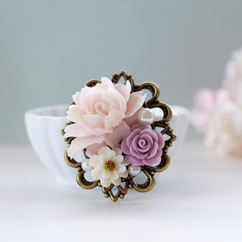 Large Lilac, Ivory, Pink Rose Flowers Collage Brooch. Vintage Inspired Wedding Bridal Sash Brooch, Sweater brooch, Bridesmaid Gift