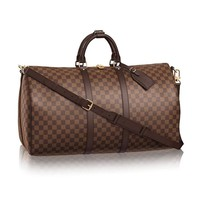 eLVe Keepall Bandouliere Style Monogram 55 cm Canvas Crossbody Handle Bag