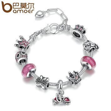 Silver Color Motorcycle Love Story Pink Glass Beads Crown Lobster Clasp Adjustable Women Charm Bracelets Jewelry PA1920