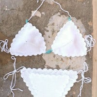Crochet Bikini in White with Aqua Stones - Handmade crochet swimwear .Tanga.