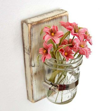 Flower wall vase Cottage Decor wood Vintage White by OldNewAgain