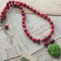 CLEARANCE ~ Red Light, Green Light / Gaspeite Pend, Red Coral