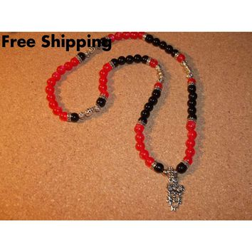 "Skulls and Flames Red Cats' Eye Glass & Black Onyx Beaded Tibetan Silver 22"" Stretch Necklace"