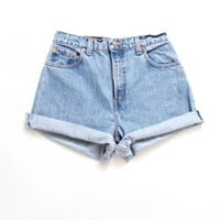 Custom Made  Rolled Up  High Waist Shorts xS S M L