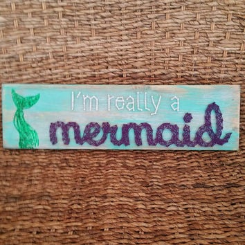 Mermaid String Art Sign, I'm Really a Mermaid String and Nail Wood Wall Hanging, Beachy Home Decor, Glitter Mermaid Tail, Ready to Ship