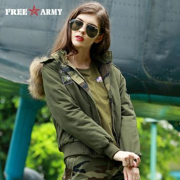 2017 Women Winter Warm Camo Parkas Hooded Coat Outwear Fashion Winter Jacket Brand Military Style Without fur-collar GS-8771A-C