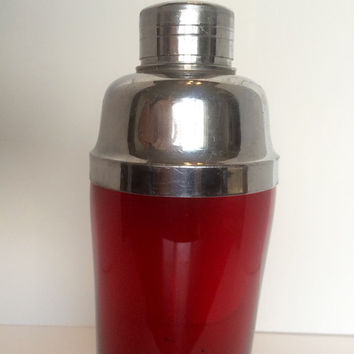 Vintage Ruby Red Art Deco Martini Cocktail Shaker