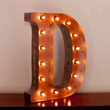 "24"" Letter D Lighted Vintage Marquee Letters with Screw-on Sockets"