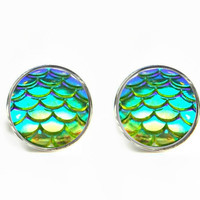 Dragon Skin Scales Iridescent Green Stud Earrings / Stainless steel hypoallergenic