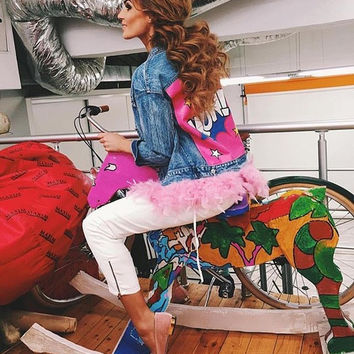 New Brand Sexy Feathers Patchwork Cartoon Letter Denim Jacket Russian Women Short Jacket