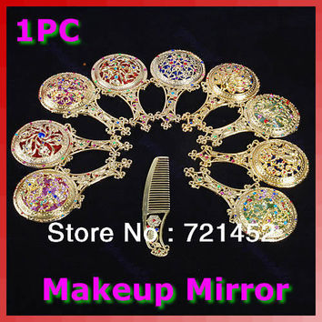 U119 Free Shipping Rhinestone Retro Ladies Makeup Compact Pock Hand Held Mirror Hair Comb Set