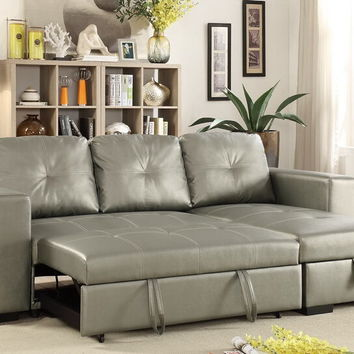 Poundex F6919 2 pc Everly collection silver faux leather upholstered sectional sofa set with pull out sleep area