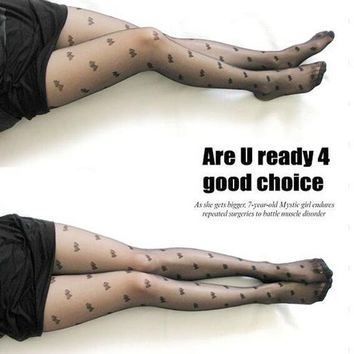 Fashion Sexy Women Lace Core Wire Jacquard Thin Slim Tights Black Silk Stockings