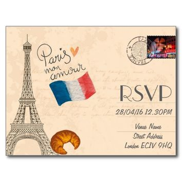 Paris Themed Wedding RSVP Invitation with Photo Postcard
