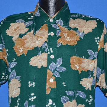 70s Spiegel Green Brown Flowered Disco Shirt Large