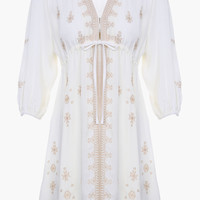 White Embroidered Cotton Fit + Flare Mini Dress