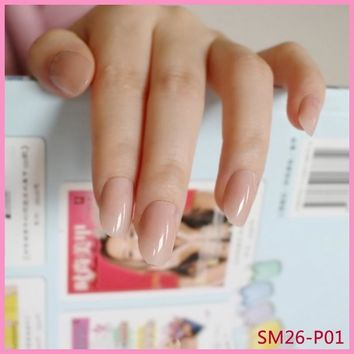Lovely Short Oval Fake Nails Nude Pink Sweet Candy Nail Small Round Head Nails DIY Product 24Pcs P01X