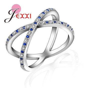 Jemmin Unique Concise Engagement Rings For Women Anniversary Gift For Lover S925 Silver And Blue/White Rhinestone Jewelry