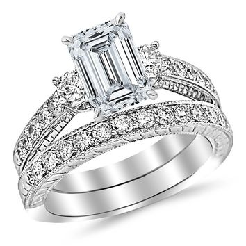 2.03 Cttw GIA Certified Three Stone Bridal Set with Wedding Band & Diamond Engagement Ring w/