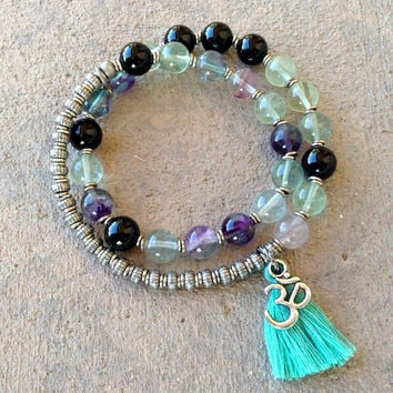 Cleansing and Soothing, Fluorite and Onyx 27 bead wrap mala bracelet™ with Om charm and tassel