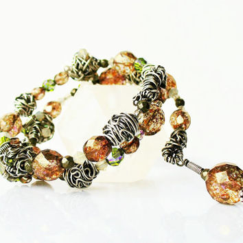Bundled Wire Bead Bracelet Woodland Brown Green, Memory Wire Bracelet, Handmade Artisan Sterling Silver Wire Beads, Luxury Gift for Her