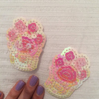 Kawaii Pink and white kitty cat paw sequin patch - One of a Kind Handmade