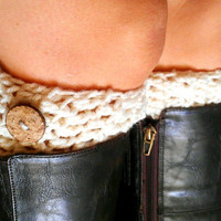 Ivory Crochet Boot Cuffs