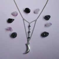 witchy moon necklace, crescent moon necklace, gothic jewelry, wiccan necklace, pagan jewelry, pastel goth