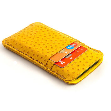 Leather iPhone case. Nubuck leather yellow iPhone 5 sleeve with pocket for Creditcard. iPhone 5/5s leather sleeve. leather pouch. Wool felt
