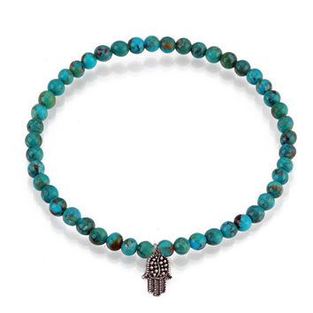Hamsa Hand Turquoise Skinny Beads Bracelet - Blessings and Protection