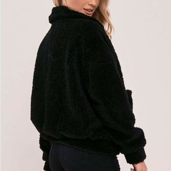 KAELIA BLACK TEDDY FUR BOMBER JACKET