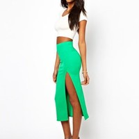 Oh My Love Textured Midi Skirt at asos.com