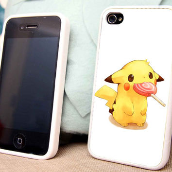 Pikachu Eat Lollipop for iPhone 5 5C 5S iPhone 4/4S Samsung Galaxy S3 S4 case