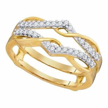 10kt Yellow Gold Women's Round Diamond Wrap Ring Guard Enhancer Wedding Band 1-4 Cttw - FREE Shipping (US/CAN)