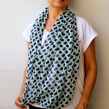 NEW ! Geometrical Round Retro Desing Print Spring Scarf White Mint Green Gift Ideas Women's Scarves  Infinity Scarf  Loop Circle Scarf
