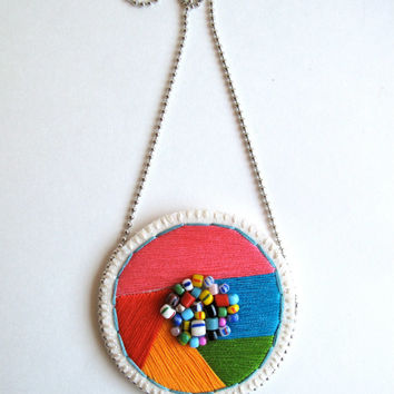 Embroidered pendant necklace geometric round shape with bright colors pink, orange, blue, green, red with multicolored African glass beads 2