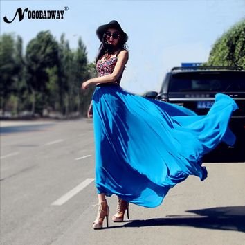 NOGOBADWAY 2017 chiffon summer womens skirts long casual maxi skirt elastic waist flowy skirt plus size big floor-length blue
