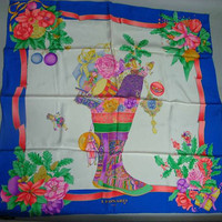Vintage Leonard scarf of silk, multi color, blue white pink and more colors flower and carnival winter holiday pattern. Absolutely stunning.