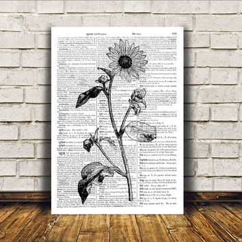 Nature art Sunflower poster Botanical print Wall decor RTA60