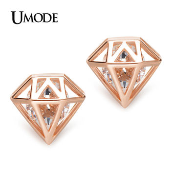 UMODE Cubic Zirconia Rose Gold Color Geometric Post Stud Earrings Christmas Gifts Cute Fashion Jewelry for Women Brinco UE0253A