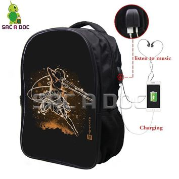 Cool Attack on Titan Anime  Multifunction Backpack Eren Fluorescence School Bags for Teenagers USB Charging Headphone Jack Travel Bag AT_90_11