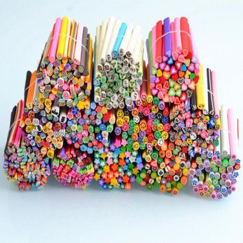 50Pcs/Set 3D Nail Art Fimo Canes Stick Rods Polymer Clay Cane Stickers Decorations Cute DIY Manicure Design Nail Stickers Tips