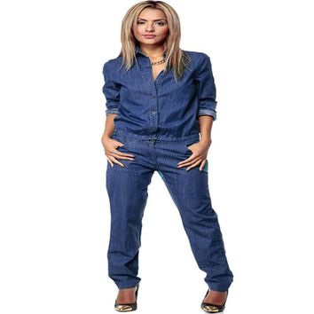 Fashion Chic Womens Romper Denim Jeans Casual Long Sleeve Overall Loose Pants Jumpsuit Loose Romper