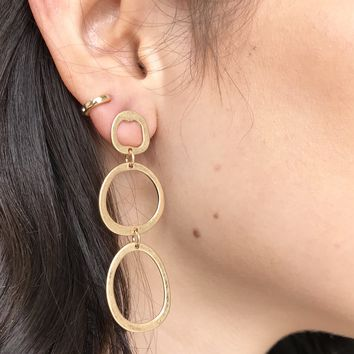 Three's Company Hoop Drop Earrings
