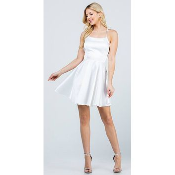 Short Fit and Flare Off White Dress Spaghetti Straps Criss Cross Back