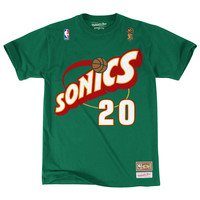 Mitchell & Ness Gary Payton Name & Number Seattle Supersonics Tee In Green