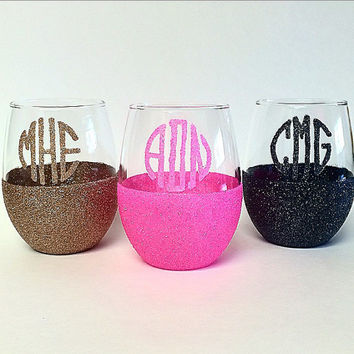 Glitter Dipped Monogram Stemless Wine Glass