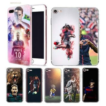 BINYEAE Soccer player Neymar 10 Soft shell case cover for iphone 5 5SE 5C 6 6S 7 7S 8 Plus X 10 Silicone Transparent